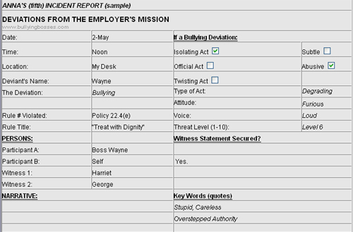 sample incident report